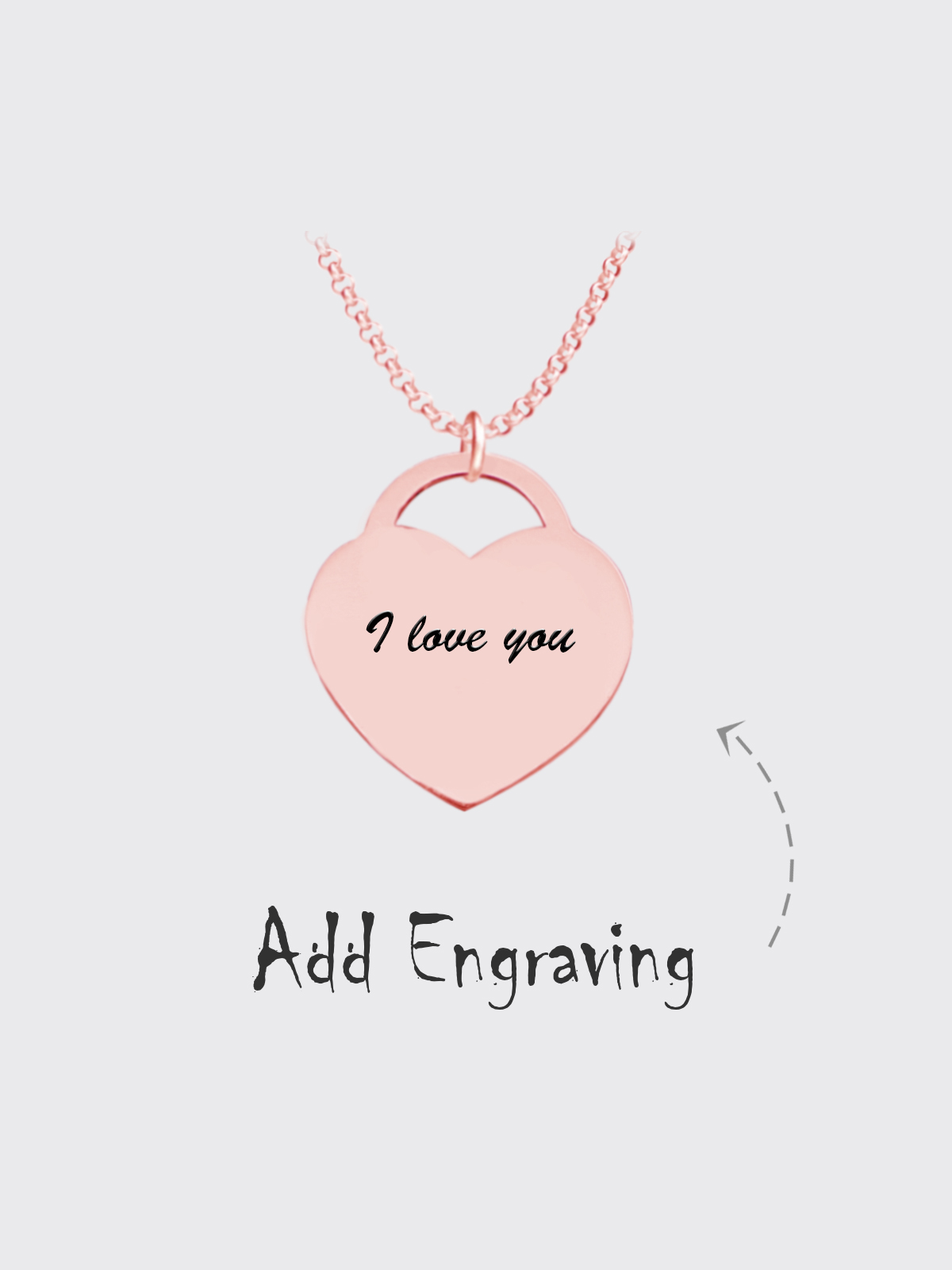 Personalized Photo Heart Lock Necklace 18k Rose Gold Plating