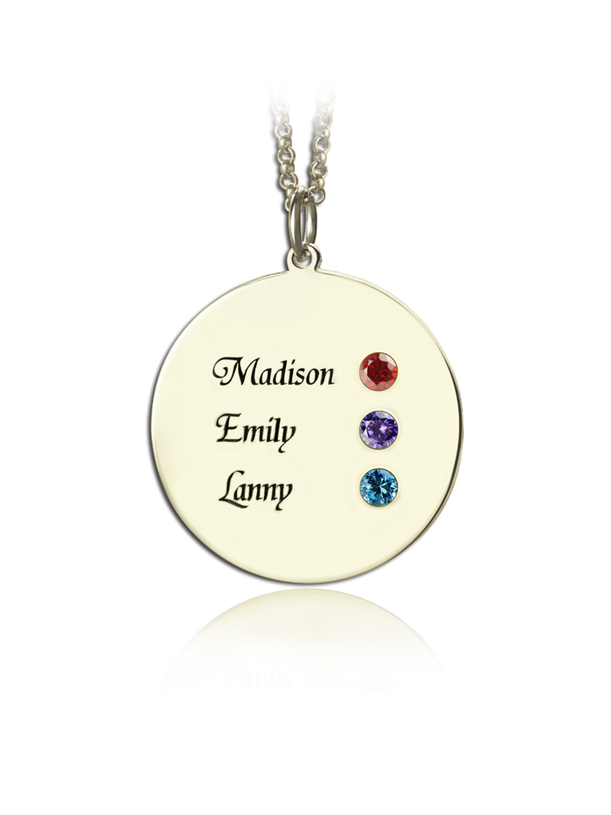 Shiny Alice Birthstone Family Necklace for 6 Names Grandmother Jewelry Mother Birthstone Jewelry
